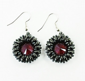 SWAROVSKI® Rivoli Bezel Earrings Kit with SuperDuo Beads Hematite and Dark red